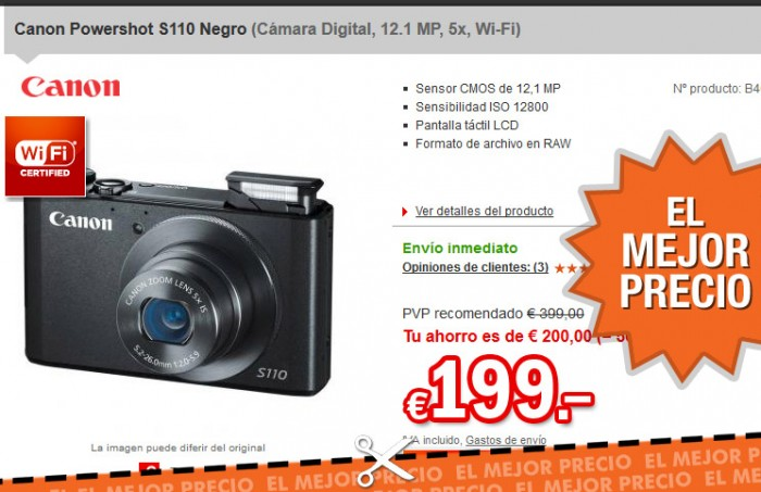 El mejor precio de Canon Powershot S110 en negro