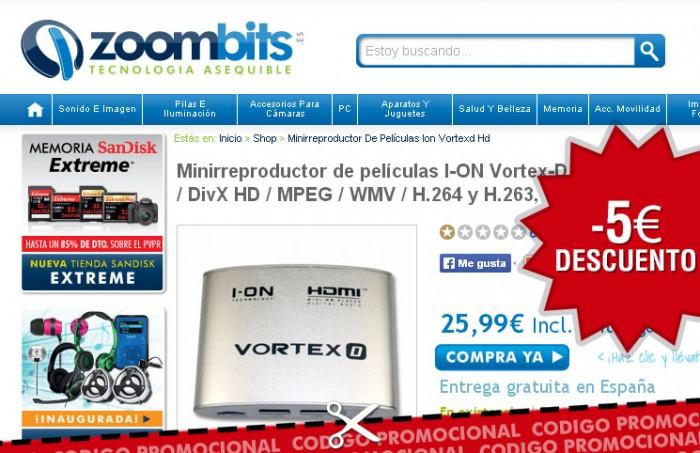 Codigo promocional de Zoombits con un descuento del 10% en un reproductor multimedia