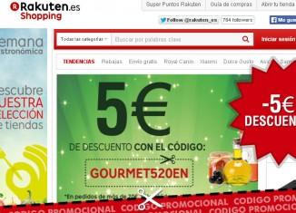 Codigo descuento de Rakuten de 5€ en la sección de gastronomia