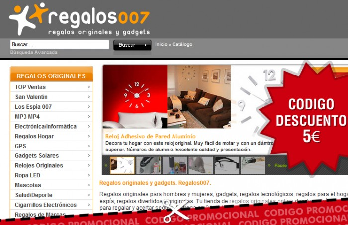 Código promocional de 5€ en Regalos007