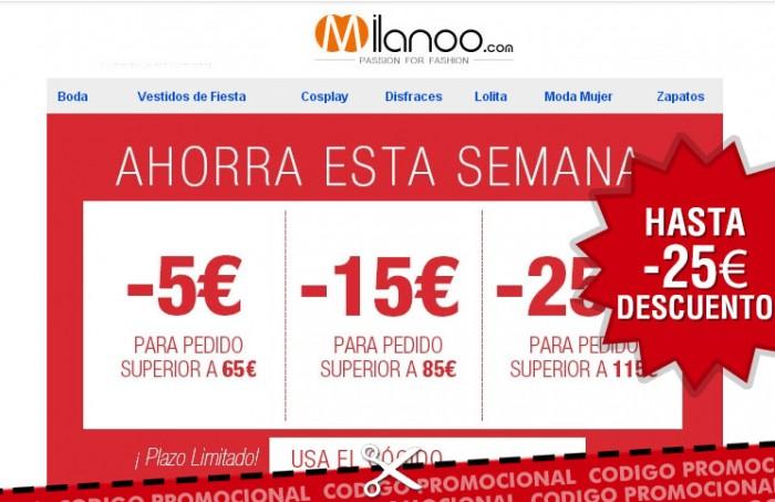 Codigo descuento de hasta 25€ en Milanoo para toda la web
