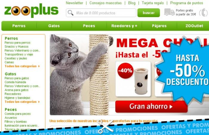 Promo de Zooplus con descuentos de hasta el 50% en accesorios, viajes, piensos e higiene