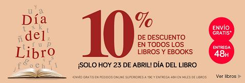 Dia del libro en El Corte Ingles con 10% de ahorro en libros de todos los formatos