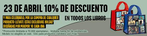 Sant Jordi en Fnac con libros rebajados un 10% y bolsos por 1€