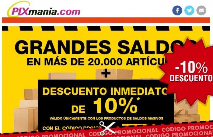 Codigo promocional de Pixmania con 10% de ahorro en articulos ya rebajados