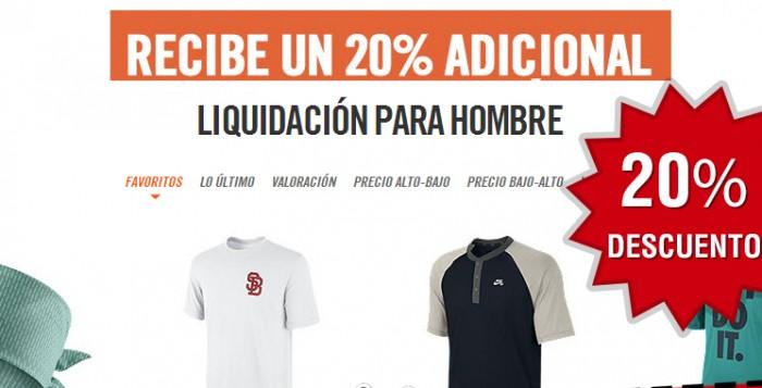 Código descuento 20% en liquidación de Nike Store