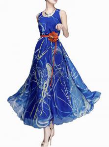 Vestido largo azul de Milanoo rebajado