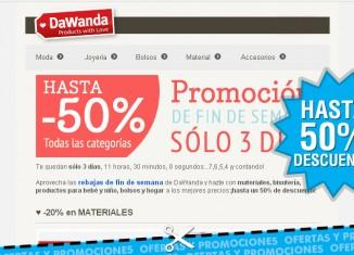 Rebajas de fin de semana de Dawanda con descuentos de hasta el 50%