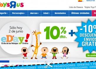 eDay en ToysRUs con 10% descuento en juguetes y envios gratis