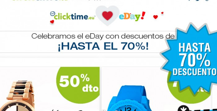 Descuentos de hasta el 70% en Clicktime por el eDay