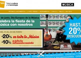 Fiesta de la música en Fnac con descuentos en música del 20% e instrumentos del 10%