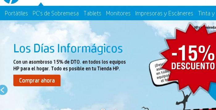 Cupón descuento de HP del 15% descuento durante los Días Informágicos