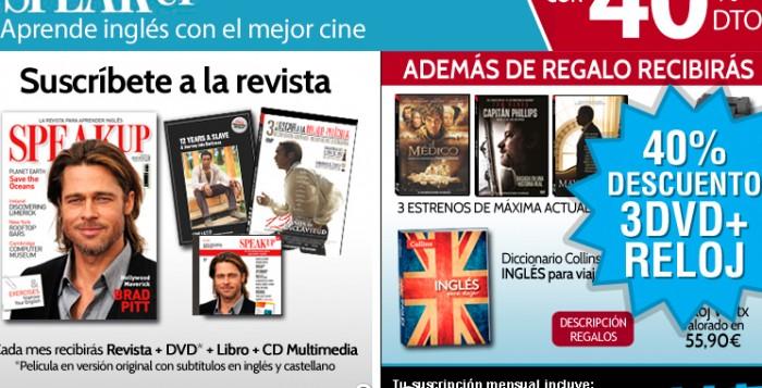 40% descuento, 3 DVD's, diccionario y reloj gratis al suscribirte en SpeakUp