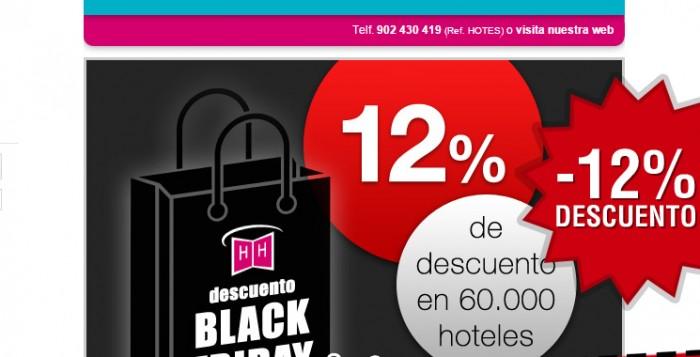 Viernes Negro en Hotelopia con un cupón descuento on -12% de ahorro en reservas de hoteles