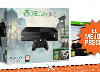 Pack videoconsola Xbox One + 4 juegos en Rakuten por 377,95€