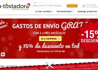 Cupón descuento de La Tostadora para Navidad con -15% de ahorro y envíos gratis