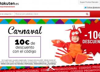 Código promocional de Rakuten con -10€ para disfraces