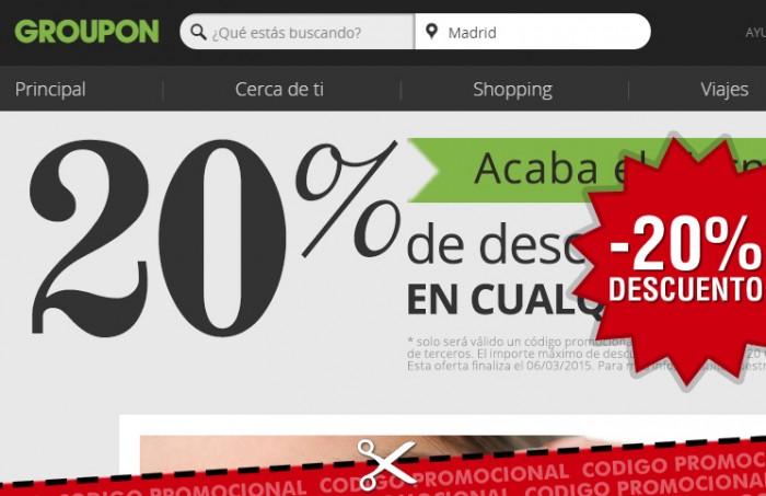 Cupón descuento de Groupon con 20% de ahorro