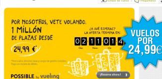 Vuelos por 24,99€ en Vueling