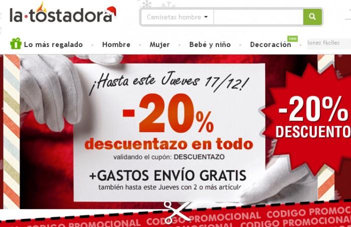 Código promocional de la Tostadora con 20% descuento en toda la web