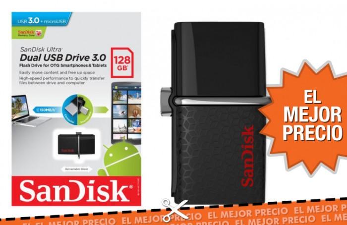 Oferta memoria USB SanDisk Ultra Dual de 128GB al mejor precio