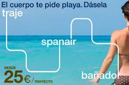 Ofertas de vuelos con chollos para volar desde 19 euros en Spanair a todos sus destinos, válido para reservas hasta 11-Abril-2010