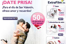 Codigo promocional ExtraFilm especial San Valentin para tener un 50% de descuento en la 2ª unidad de sus de ideas para regalo