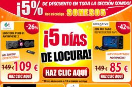 Codigo promocional Pixmania para tener un 5% de descuento adicional en toda la sección Sonido, válido hasta 13-Febrero-2010