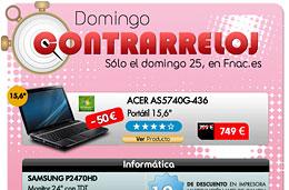 Ofertas en Fnac en un nuevo 'Domingo Contrarreloj' con ofertas y descuentos exclusivos sólo durante el día de hoy 25-Abril-2010