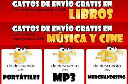 Fin de semana Loco en Fnac con gastos de envío gratis en música y cine, libros y un -5% en portátiles/mp3 y un -15% en merchandising, válido hasta 10-Enero-2010