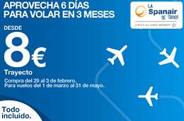 Ofertas de vuelos en Spanair con chollos para volar desde 8 euros a todos sus destinos, válido para reservas hasta 2-Febrero-2010