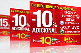 El Corte Inglés - Descuentos adicionales de hasta el 15% en electrodomésticos y del 10% en electrónica y automóvil, válido hasta el 4 y 7 Febrero-2009 respectivamente
