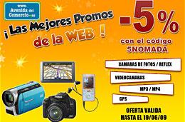 Código promocional Avenida del Comercio de un 5% de descuento en fotografía, videocámaras, mp3/mp4 y GPS, válido hasta 19-Junio-2009