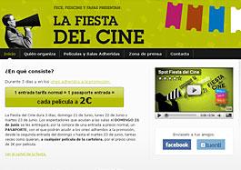 Ve al cine por 2€ gracias a la Promoción 'La fiesta del cine' disponible para cualquier película de la cartelera durante 3 días, válido hasta 23-Junio-2009