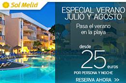 Ofertas de Hoteles desde 25€ durante Julio y Agosto en el Especial Verano de Sol Melía, válido hasta 31-Agosto-2009