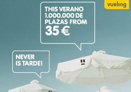 Ofertas vuelos baratos con Vueling para volar este verano con 1 millon de plazas desde 35 euros