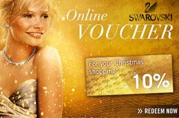 Codigo promocional Swarovski para Navidad de 10€ de descuento para compras superiores a 125€