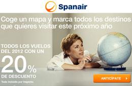 Ofertas Spanair con un 20% de descuento en todos sus billetes ida/vuelta