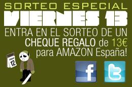Participa en nuestro sorteo especial V13 y gana dos cheques regalo para gastar en Amazon España