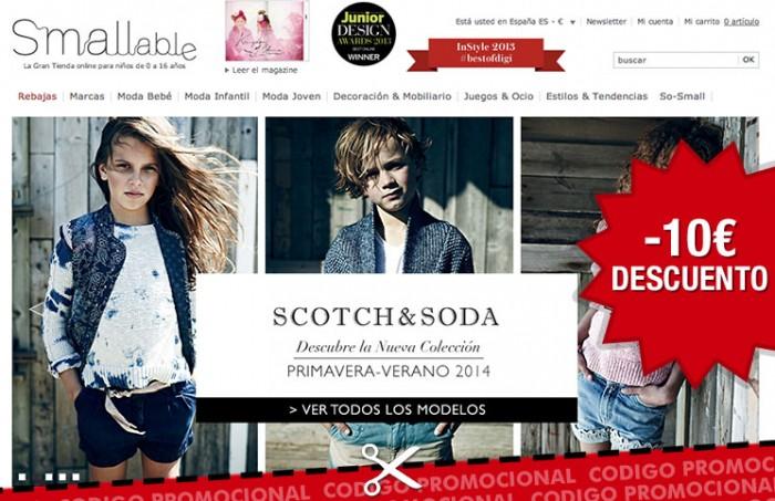Codigo promocional de Smallable para tener -10€ en compras de su tienda online para niños