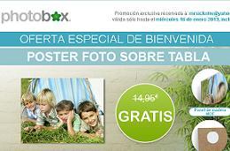 Codigo promocional de Photobox para la impresión gratis de un poster foto sobre tabla