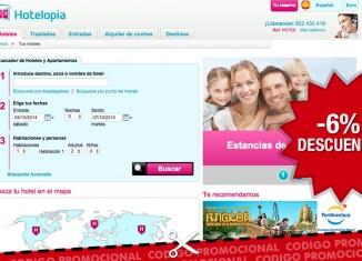 Código promocional de Hotelopia con un descuento del 6% en reservas