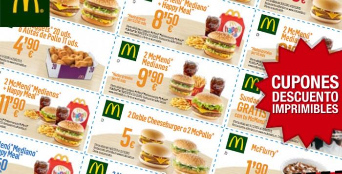 Cupones descuento de McDonalds listos para imprimir y usar todo lo que quieras