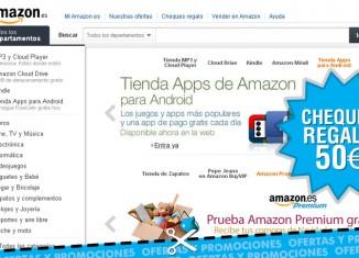 Cheque regalo en Amazon ES de hasta 50€ por compra