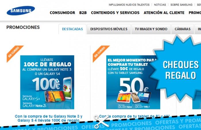 Cheques regalo de Samsung de hasta 100 euros