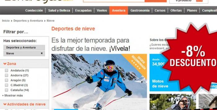 ZonaRegalo ofrece Cupón descuento con 8% de descuento en sus cajas de regalos de actividades de nieve