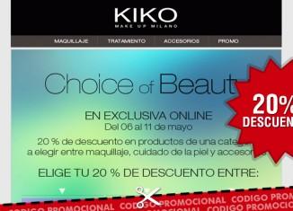 Códigos promocionales de Kiko Cosmetics con descuentos del 20% en maquillaje, cuidado de piel o accesorios