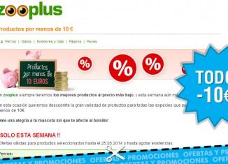 Promo Zooplus artículos a menos de 10€