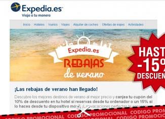 Codigos promocionales de Expedia con descuentos de hasta el 15% en verano