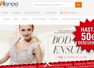 Cupon descuento de Milanoo con el que conseguir un descuento de hasta 50€ en vestidos de boda